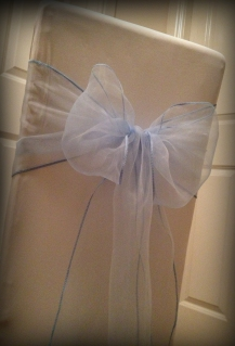 Baby blue organza bow, Chair covers Glasgow, Lily Special Events