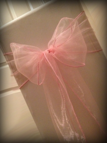 Baby pink organza bow, Chair covers Glasgow, Lily Special Events