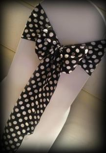 Black and white polka dot chair bow, Wedding chair covers, central Scotland - Lily Special Events