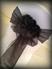 Black bow with flower, Chair covers South Lanarkshhire, Lily Special Events