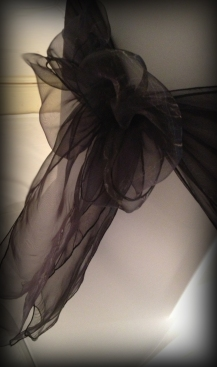 Black organza bow, Chair covers Glasgow, Lily Special Events