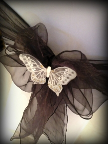 Black organza sash with butterfly detail, Chair covers South Lanarkshhire, Lily Special Events