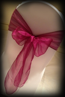 Burgundy organza bow, Chair covers Glasgow, Lily Special Events
