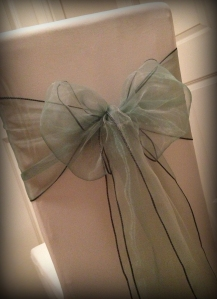 Chalk green organza bow, Chair covers Glasgow, Lily Special Events