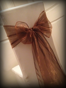 Chocolate organza bow, Chair covers Glasgow, Lily Special Events
