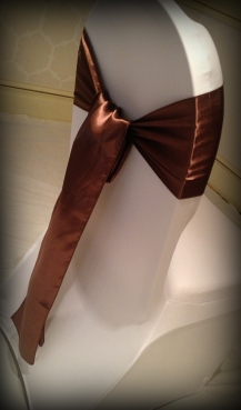 Chocolate satin bow, Chair covers South Lanarkshhire, Lily Special Events