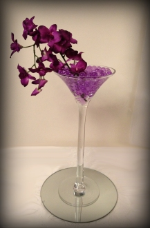 Cocktail vase centrepiece, wedding, South Lanarkshire