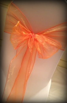 Coral organza bow, Chair covers Glasgow, Lily Special Events