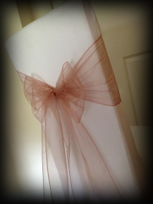 Dusky pink organza bow, Chair covers Glasgow, Lily Special Events