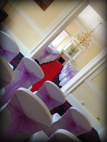 Airth Castle Wedding, Chair covers by Lily Special Events