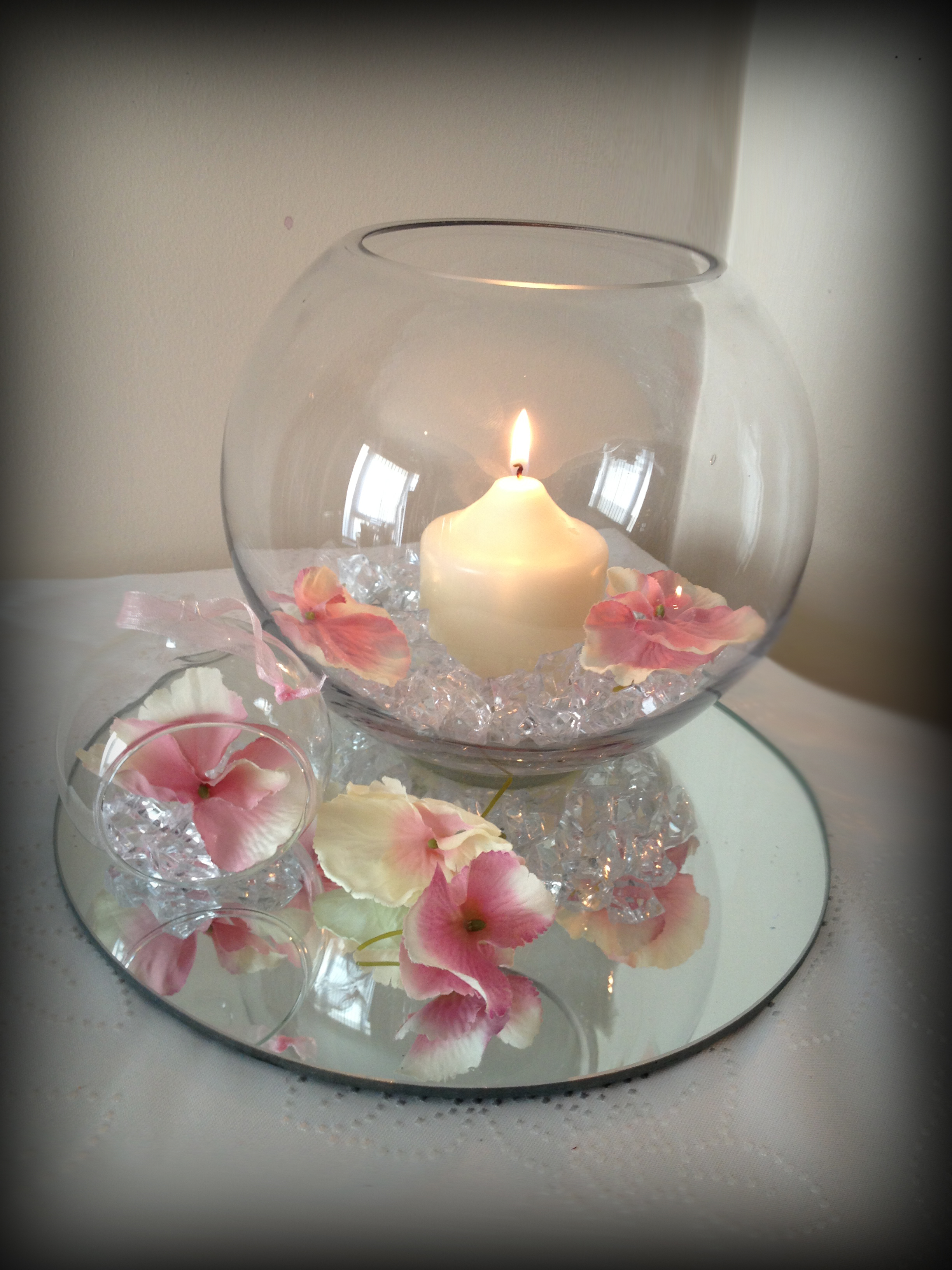 Fishbowl with candle wedding centrepiece glasgow lily for Candle centrepiece