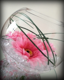 Fishbowl with pink gerberas - Wedding Centrepiece South Lanarkshire