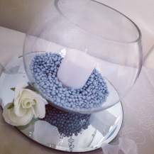 Fishbowl centrepiece by Lily Special Events - Wedding venue decor East Kilbride, Glasgow, Scotland