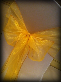 Gold organza bow, Chair covers Glasgow, Lily Special Events