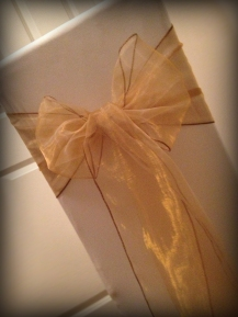 Mocha organza bow, Chair covers Glasgow, Lily Special Events