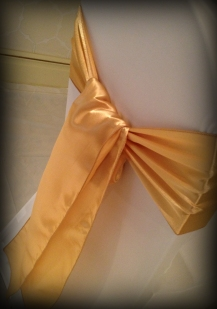 Gold satin bow, Chair covers South Lanarkshhire, Lily Special Events