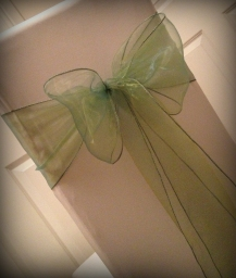 Green organza bow, Chair covers Glasgow, Lily Special Events