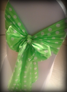 Green polka dot bows, Wedding chair covers, central Scotland - Lily Special Events
