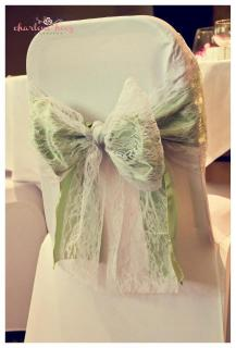 Green with lace bow, Wedding chair covers, central Scotland - Lily Special Events