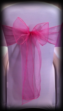 Hot pink organza bow, Chair covers Glasgow, Lily Special Events