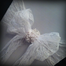 Lace bow with pearls chair covers wedding, Glasgow