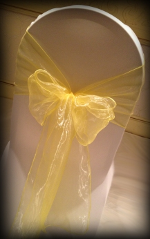 Lemon organza bow, Chair covers Glasgow, Lily Special Events