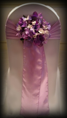 Lilac sash with flower detail, Chair covers South Lanarkshhire, Lily Special Events