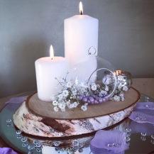 Log slice centrepieces, Lily Special Events, wedding Glasgow