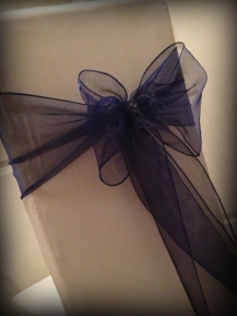 Midnight blue organza bow, Chair covers Glasgow, Lily Special Events