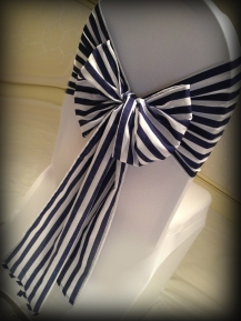 Navy stripe bow, Wedding chair covers, central Scotland - Lily Special Events