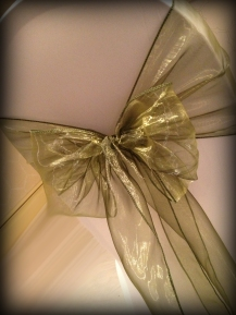 Olive green organza bow, Chair covers Glasgow, Lily Special Events