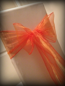 Orange organza bow2, Chair covers Glasgow, Lily Special Events