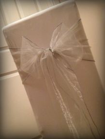 Pale silver organza bow, Chair covers Glasgow, Lily Special Events