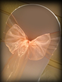 Peach organza bow, Chair covers Glasgow, Lily Special Events