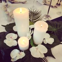 Pillar candle centrepieces, Lily Special Events, wedding Glasgow