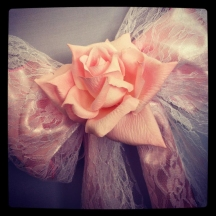 Pink, lace wedding bow with rose, Chair covers South Lanarkshhire, Lily Special Events