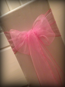 Pink organza bow, Chair covers Glasgow, Lily Special Events