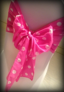 Pink polka dot bow, Wedding chair covers, central Scotland - Lily Special Events