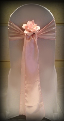 Pink satin sash with rose, Wedding Chair covers South Lanarkshhire, Lily Special Events