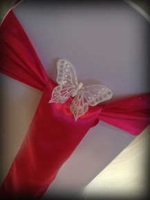 Pink satin with butterfly, Chair covers South Lanarkshhire, Lily Special Events