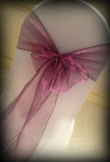 Plum organza bow, Chair covers Glasgow, Lily Special Events
