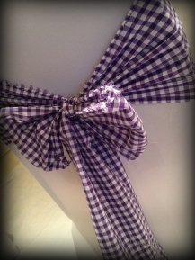 Purple gingham bow, Wedding chair covers, central Scotland - Lily Special Events