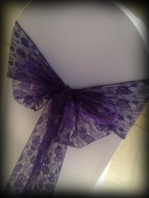 Purple lace bow, Wedding chair covers, central Scotland - Lily Special Events