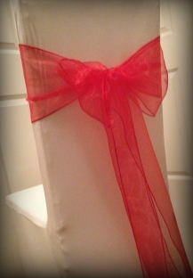 Red organza bow, Chair covers Glasgow, Lily Special Events