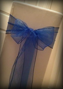 Royal blue organza bow, Chair covers Glasgow, Lily Special Events