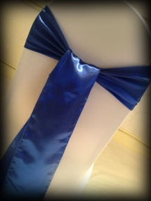 Royal blue satin bow, Chair covers South Lanarkshhire, Lily Special Events