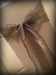 Silver organza bow, Chair covers Glasgow, Lily Special Events