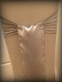 Silver satin bow, Chair covers South Lanarkshhire, Lily Special Events