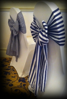 Stipes and gingham bows, Wedding chair covers, central Scotland - Lily Special Events