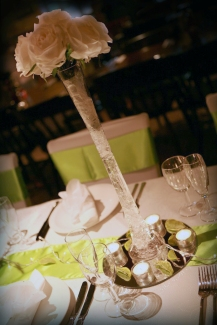 Tall vase centrepiece - wedding South Lanarkshire - Lily Special Events
